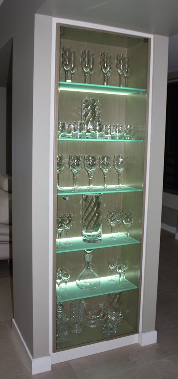 Glass Cabinet with Illuminated Shelving